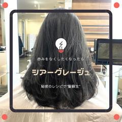 グレージュ 前髪 ナチュラル 髪質改善 ヘアスタイルや髪型の写真・画像
