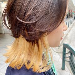 ナチュラル インナーカラー ブリーチカラー ニュアンスウルフ ヘアスタイルや髪型の写真・画像