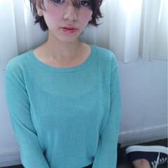 前髪あり ショート 大人かわいい ウェットヘア ヘアスタイルや髪型の写真・画像