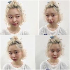 外国人風 ボブ ショート ハーフアップ ヘアスタイルや髪型の写真・画像