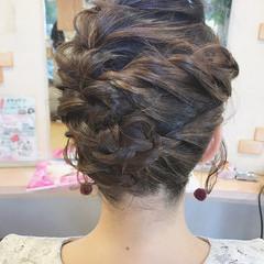 フェミニン 結婚式 編み込み ボブ ヘアスタイルや髪型の写真・画像