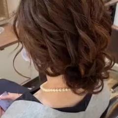 ヘアセット ヘアアレンジ お呼ばれヘア セミロング ヘアスタイルや髪型の写真・画像