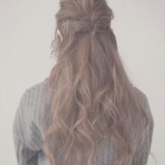 くるりんぱ ヘアアレンジ ゆるふわ ハーフアップ ヘアスタイルや髪型の写真・画像