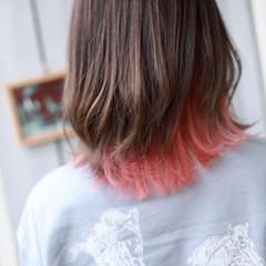 モード ミディアム インナーカラー ヘアスタイルや髪型の写真・画像