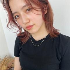 ブリーチカラー ベリーピンク チェリーレッド ピンク ヘアスタイルや髪型の写真・画像