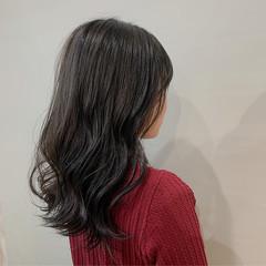ナチュラル セミロング ダークアッシュ ダークグレー ヘアスタイルや髪型の写真・画像