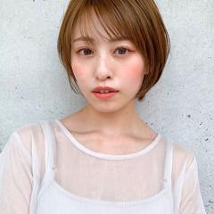 透明感カラー ショートボブ 丸みショート ショートヘア ヘアスタイルや髪型の写真・画像