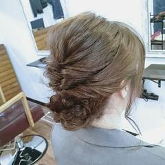 編み込み ヘアアレンジ くるりんぱ セミロング ヘアスタイルや髪型の写真・画像