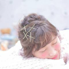 ボブ ヘアピン ヘアアレンジ ヘアアクセ ヘアスタイルや髪型の写真・画像