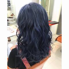 ストリート ネイビー セミロング ブルー ヘアスタイルや髪型の写真・画像