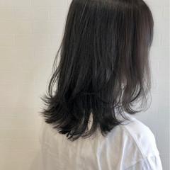 暗髪 ロブ レイヤーカット グレー ヘアスタイルや髪型の写真・画像