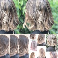 透明感 グレージュ ナチュラル バレイヤージュ ヘアスタイルや髪型の写真・画像