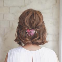 ショート 簡単ヘアアレンジ ハーフアップ ハイライト ヘアスタイルや髪型の写真・画像