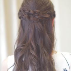 ハーフアップ ロング パーティ 結婚式 ヘアスタイルや髪型の写真・画像