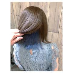 ボブ ブルージュ フェミニン インナーブルー ヘアスタイルや髪型の写真・画像