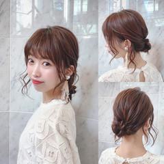 簡単ヘアアレンジ セミロング メッシーバン 大人ミディアム ヘアスタイルや髪型の写真・画像
