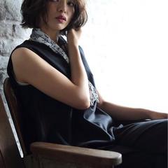 フェミニン 暗髪 モード ボブ ヘアスタイルや髪型の写真・画像
