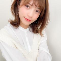 デジタルパーマ ミディアム モテ髪 外ハネ ヘアスタイルや髪型の写真・画像