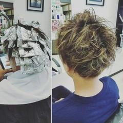 ショート ストリート ボーイッシュ メッシュ ヘアスタイルや髪型の写真・画像