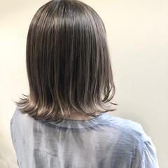 切りっぱなしボブ ボブ ダブルカラー バレイヤージュ ヘアスタイルや髪型の写真・画像