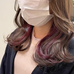 イヤリングカラーピンク ミディアム 大人かわいい 大人可愛い ヘアスタイルや髪型の写真・画像