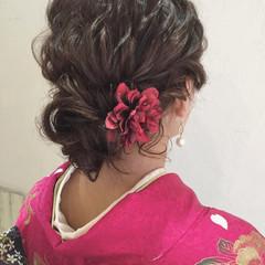 振袖 ヘアアレンジ セミロング 結婚式 ヘアスタイルや髪型の写真・画像