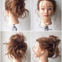 ヘアアレンジ お団子 ガーリー セミロング ヘアスタイルや髪型の写真・画像