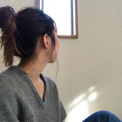 簡単 ナチュラル セミロング ヘアアレンジ ヘアスタイルや髪型の写真・画像