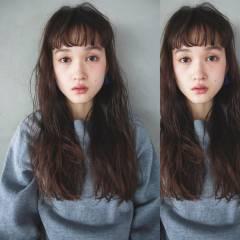 ロング ナチュラル ショートバング シースルーバング ヘアスタイルや髪型の写真・画像