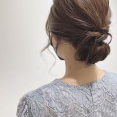 ヘアセット フェミニン ミディアム 結婚式ヘアアレンジ ヘアスタイルや髪型の写真・画像