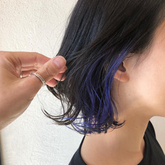 ネイビーブルー ネイビー ボブ モード ヘアスタイルや髪型の写真・画像