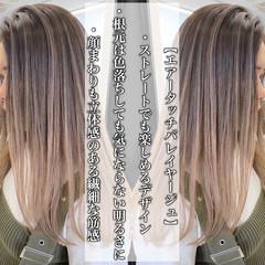 グラデーションカラー バレイヤージュ エアータッチ ピンクベージュ ヘアスタイルや髪型の写真・画像