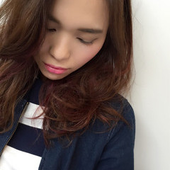 セミロング インナーカラー ピンク ロブ ヘアスタイルや髪型の写真・画像