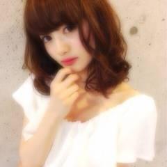愛され 大人かわいい ゆるふわ ミディアム ヘアスタイルや髪型の写真・画像