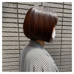 ナチュラル 大人グラボブ ナチュラルブラウンカラー ショートヘア ヘアスタイルや髪型の写真・画像