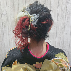 簡単ヘアアレンジ 卒業式 レッドカラー ヘアアレンジ ヘアスタイルや髪型の写真・画像