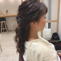 結婚式 セミロング 簡単ヘアアレンジ ハーフアップ ヘアスタイルや髪型の写真・画像