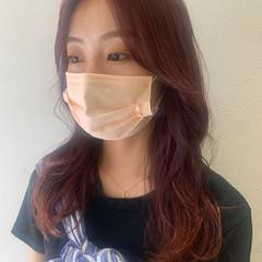 ロング ガーリー ピンクブラウン チェリーピンク ヘアスタイルや髪型の写真・画像