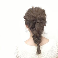 夏 ヘアアレンジ セミロング 大人かわいい ヘアスタイルや髪型の写真・画像