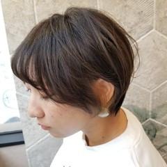 インナーカラー ショート グレージュ ナチュラル ヘアスタイルや髪型の写真・画像