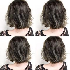 ハイライト 暗髪 ボブ アッシュグレージュ ヘアスタイルや髪型の写真・画像