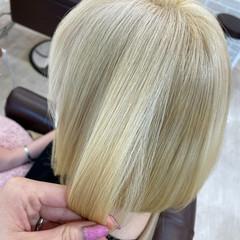 ショートボブ 小顔ヘア ハイトーン ボブ ヘアスタイルや髪型の写真・画像