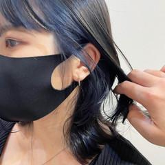 ブルーブラック ネイビーブルー ミディアム ブルー ヘアスタイルや髪型の写真・画像
