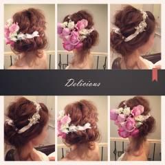 アップスタイル ヘアアレンジ ストリート 結婚式 ヘアスタイルや髪型の写真・画像