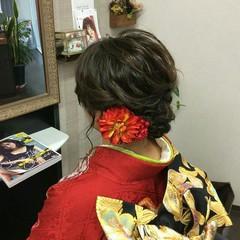 ミディアム ヘアアレンジ ナチュラル 着物 ヘアスタイルや髪型の写真・画像