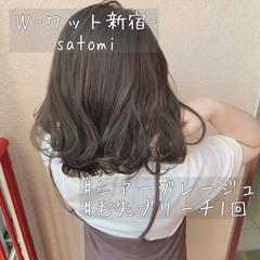 透け感 透明感 グレージュ ナチュラル ヘアスタイルや髪型の写真・画像