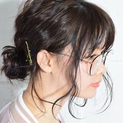黒髪 ヘアアレンジ ミディアム 簡単ヘアアレンジ ヘアスタイルや髪型の写真・画像