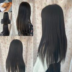 ダークトーン 髪質改善カラー ロング ダークグレー ヘアスタイルや髪型の写真・画像