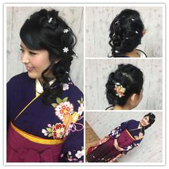 ヘアアレンジ 袴 成人式 セミロング ヘアスタイルや髪型の写真・画像