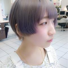 ショート 小顔 ガーリー パープル ヘアスタイルや髪型の写真・画像